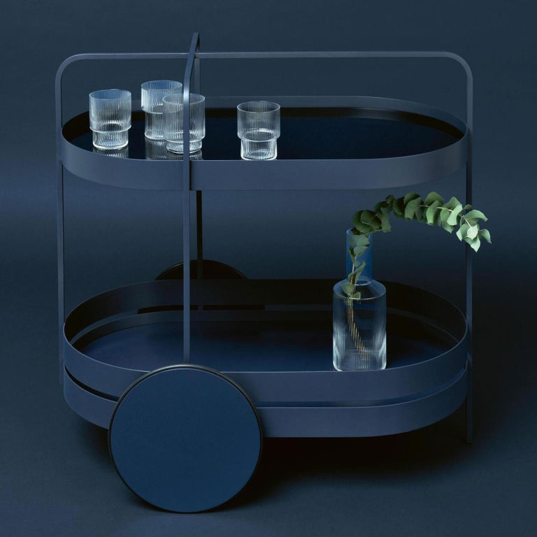 A future Classic. The clear lines and stylish practicality of the grace serving trolley make for a winning combination. Its Minimalist form is the perfect modern twist on a Classic item. Use as a mobile bar or side table, or for storage in home