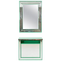 Schöninger Mint Green Console Mirror Hollywood Regency