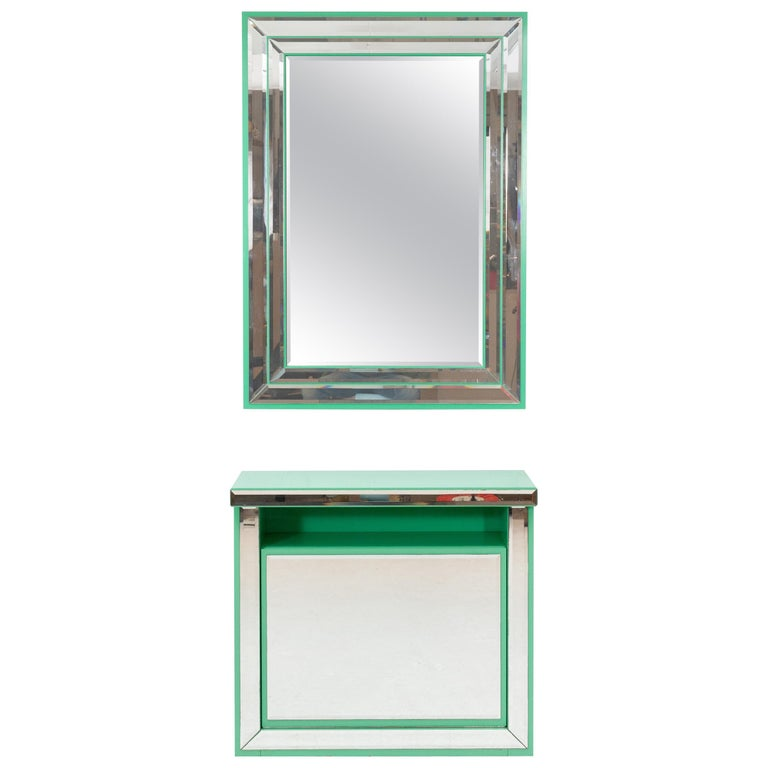 Schöninger Mint Green Console Mirror Hollywood Regency For Sale