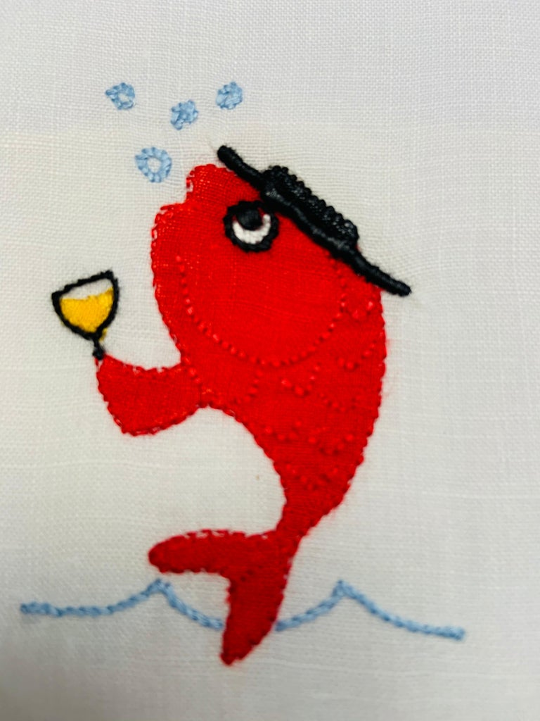 Women's or Men's School of Fish Appliqued and Embroidered Linen Cocktail Napkins, Set of Six