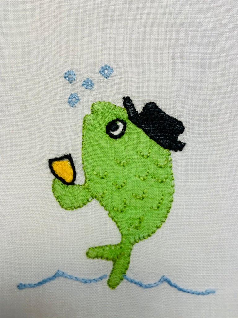 School of Fish Appliqued and Embroidered Linen Cocktail Napkins, Set of Six 1
