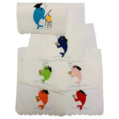 School of Fish Appliqued and Embroidered Linen Cocktail Napkins, Set of Six