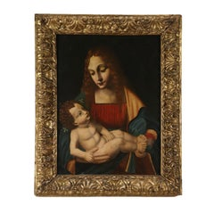 Madonna with Child Follower of Marco D'Oggiono Painting 17th Century
