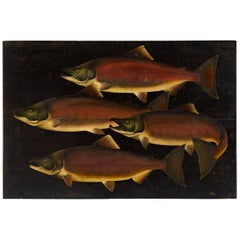 """School of Salmon"" Painting, Oil on Board"
