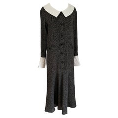 Schoolgirl Silk ALMA Midi Dress in Black Gray print
