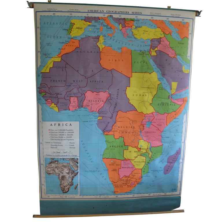 Schoolroom Geography Map of Africa, 1957 Edition at 1stdibs