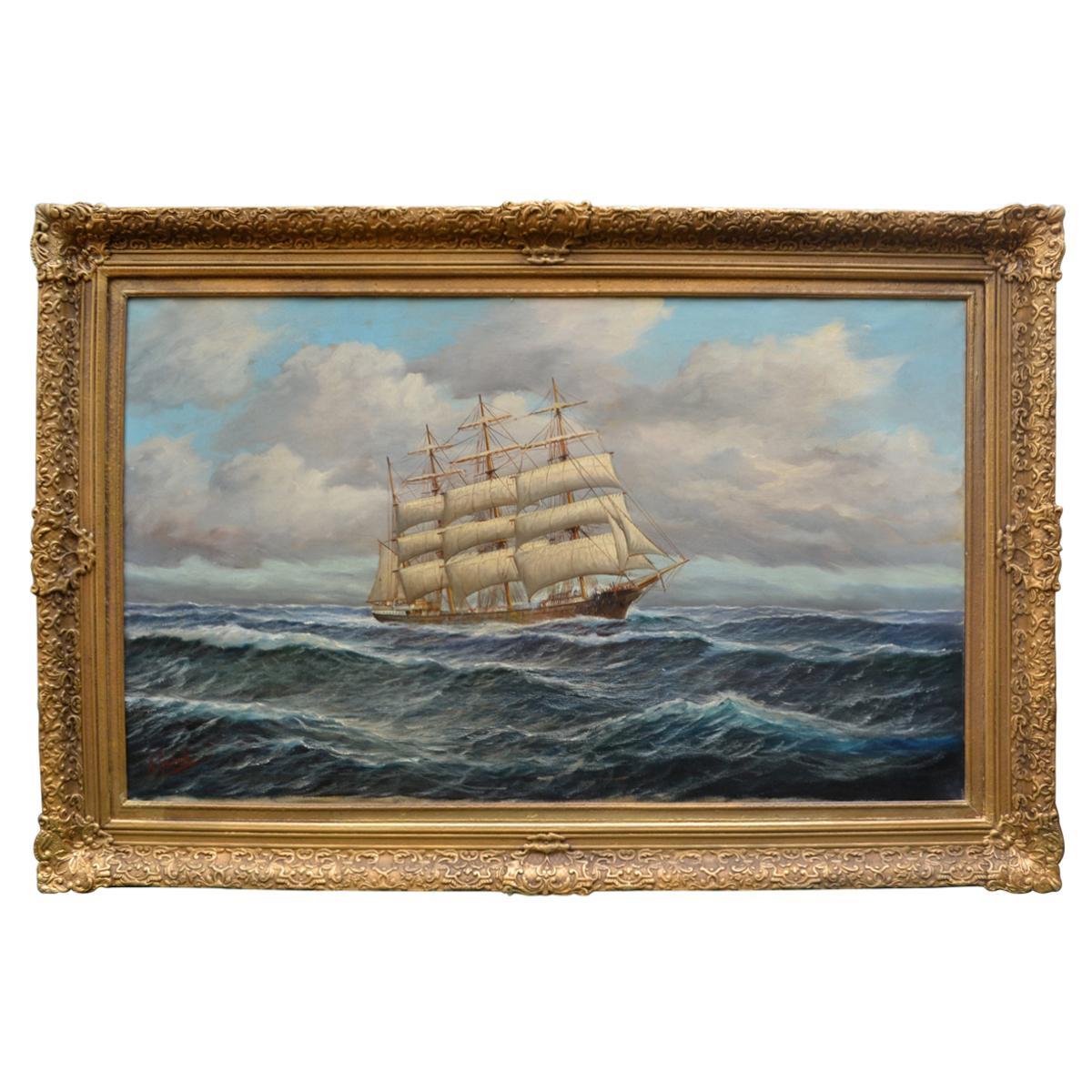 """""""Schooner under full sail"""" by German American Artist Alfred Gabali"""