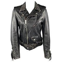 SCHOTT Limitd Edition Size S Black Leather Studded Biker Jacket