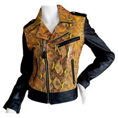 """Schott Perfecto Leather Motorcycle Jacket w Embossed Leather """"Python"""" Details SM"""
