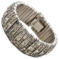 Schreiber & Hiller Art Deco DRGM Silver Tone Rhinestone Link Bracelet