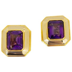 Schreiner 18KT Yellow and White Gold Contemporary Amethyst 16.00 Carat Earrings
