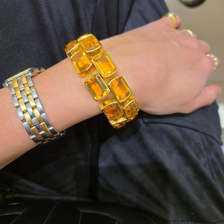 Contemporary Schreiner 18 Karat Yellow Gold Two-Row Emerald Cut 137.00 Carat Citrine Bracelet For Sale