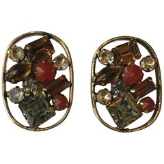 Schreiner 1950s Antique Gold and Rhinestone Earrings