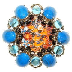 Schreiner New York Blue & Orange Poured Glass Floral Statement Brooch