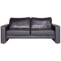 Schröno Designer Leather Sofa Black Genuine Leather Two-Seat Couch