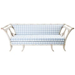 Schumacher 18th Century Antique Swedish Gustavian Sofa with Wood Carving