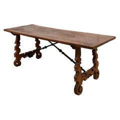 Schumacher 18th Century Spanish Walnut Table with Lyre Legs and Iron Struts