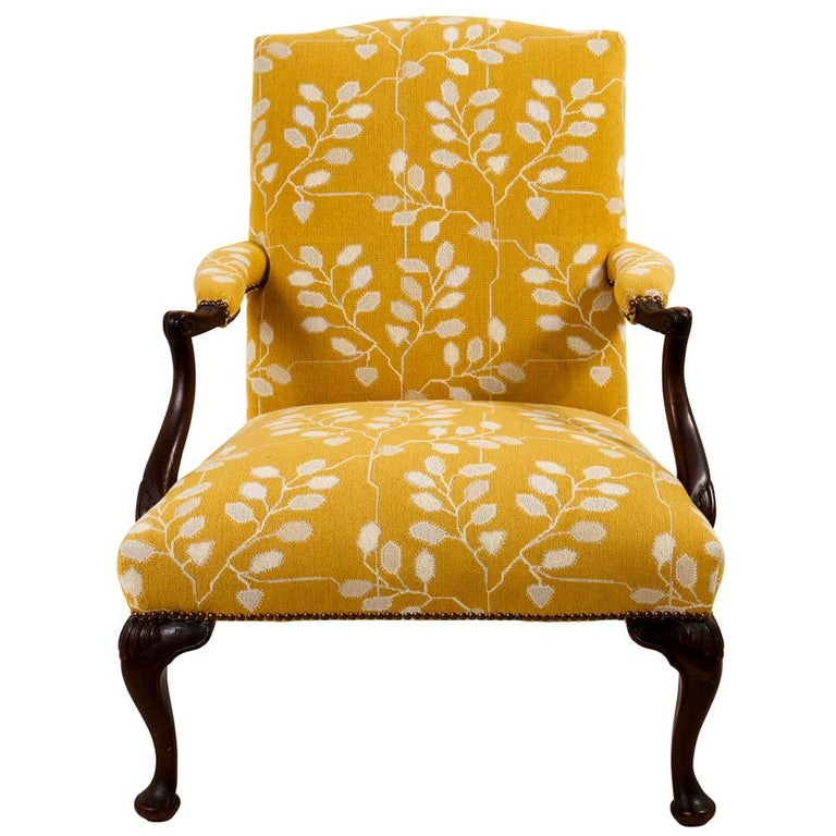 Schumacher 1920s-style open arm chair with mahogany frame, 2020