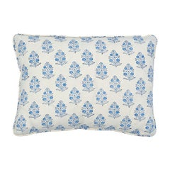 "Schumacher Aditi Block Print 18"" x 12"" Pillow in Sky"