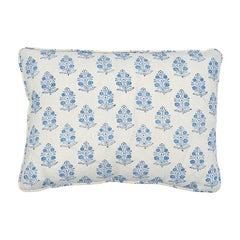 Schumacher Aditi Block Print Pillow in Sky