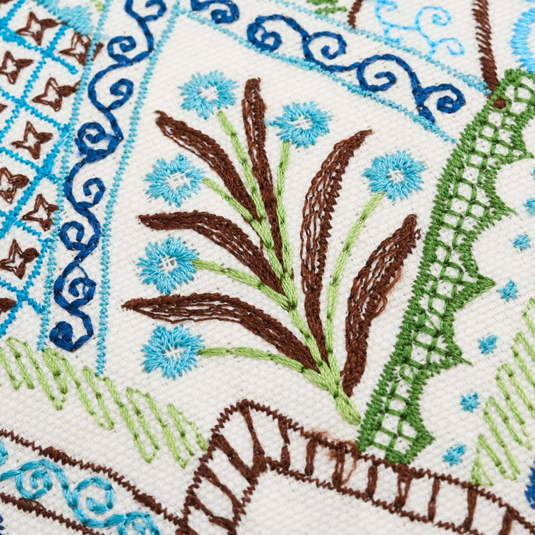 Modern Schumacher Albizia Embroidery Blue Green Linen Cotton Two-Sided Pillow For Sale