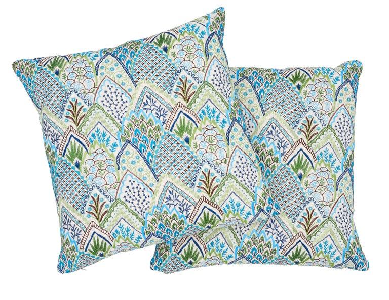 Indian Schumacher Albizia Embroidery Blue Green Linen Cotton Two-Sided Pillow For Sale