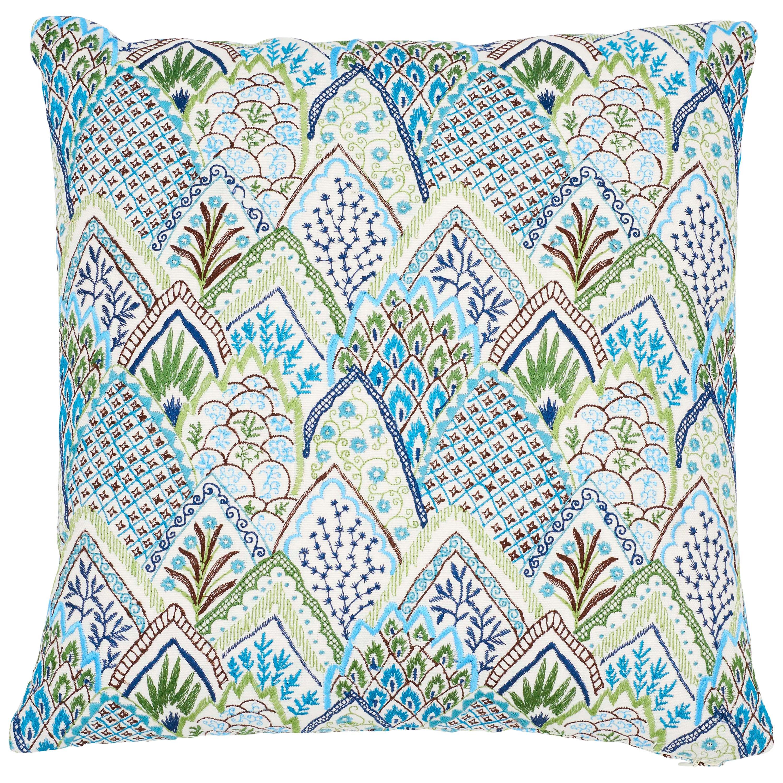 Schumacher Albizia Embroidery Blue Green Linen Cotton Two-Sided Pillow