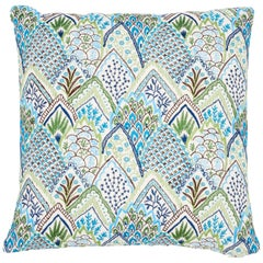 Schumacher Albizia Embroidery Blue Green Linen Cotton Two-Sided Pillow