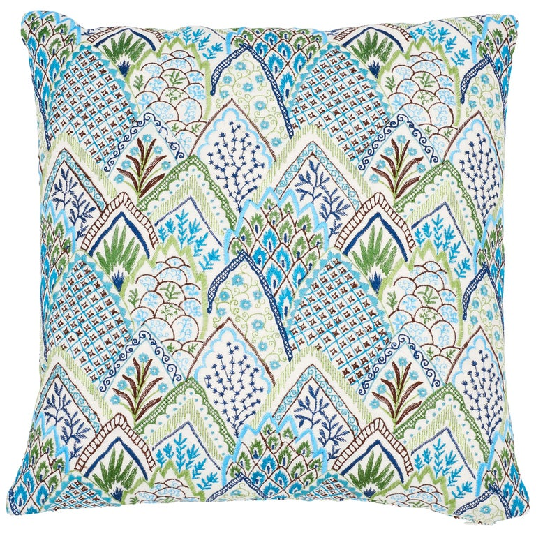 Schumacher Albizia Embroidery Blue Green Linen Cotton Two-Sided Pillow For Sale