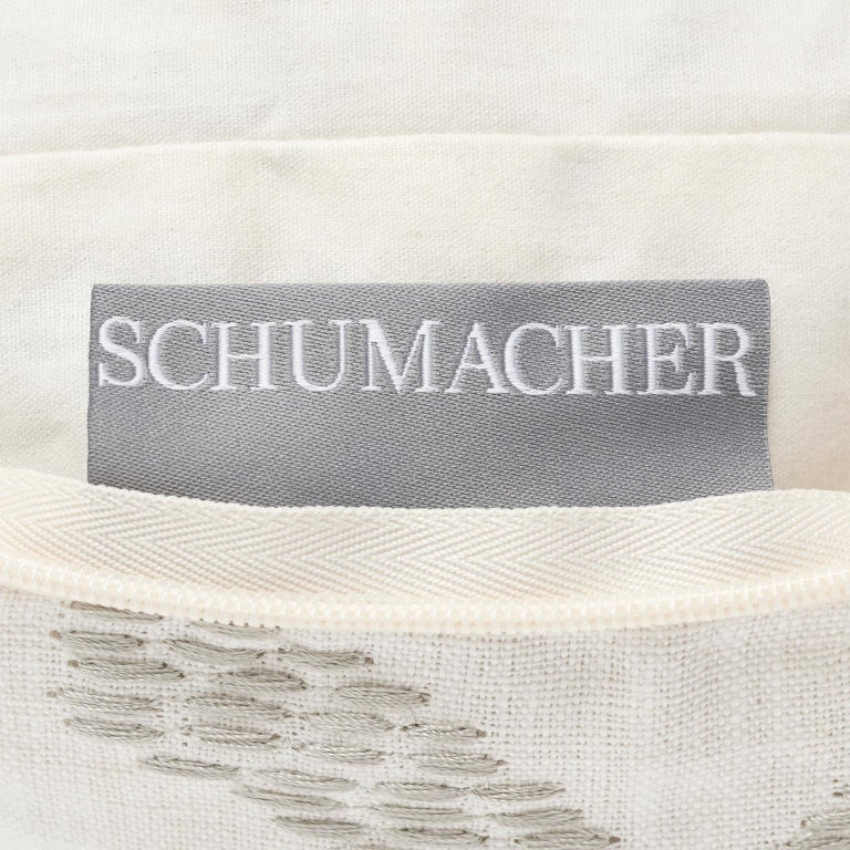 Contemporary Schumacher Amour Stripe Charcoal White Linen Two-Sided 18
