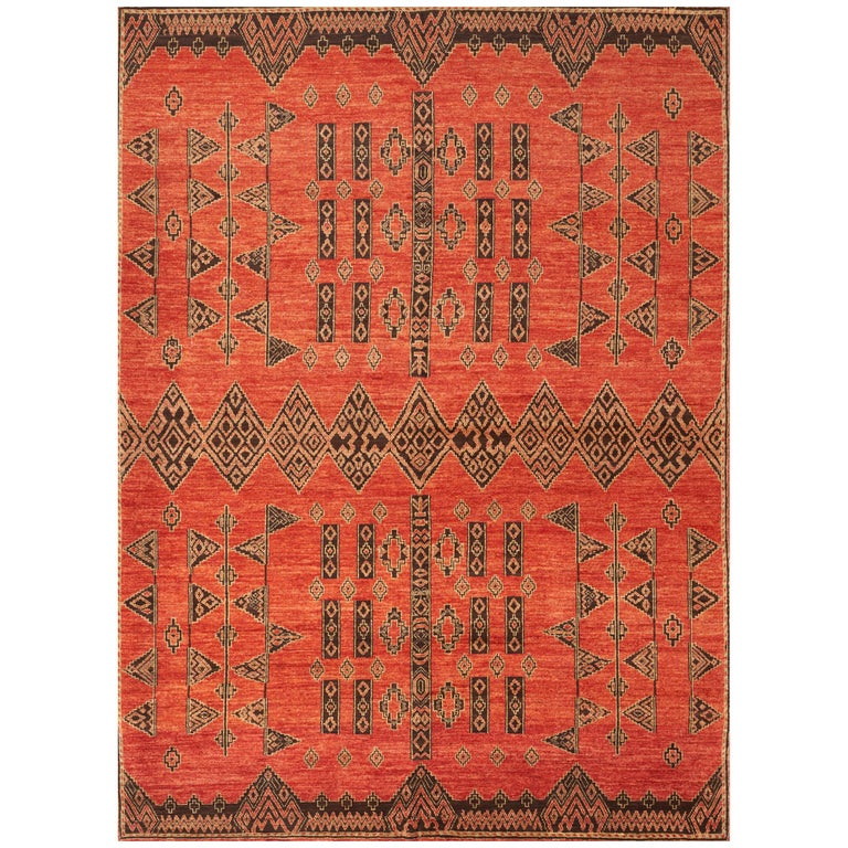 Schumacher Amu Area Rug in Hand Knotted Wool Silk, Patterson Flynn Martin For Sale