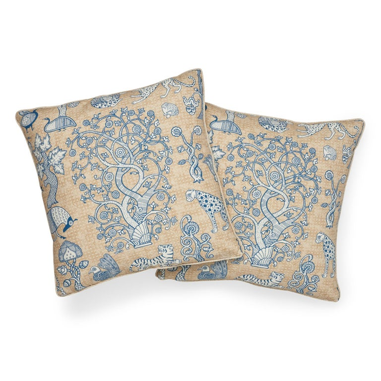 Modern Schumacher Animalia Blue Natural Linen Two-Sided Pillow For Sale
