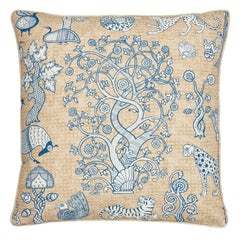 Schumacher Animalia Blue Natural Linen Two-Sided Pillow
