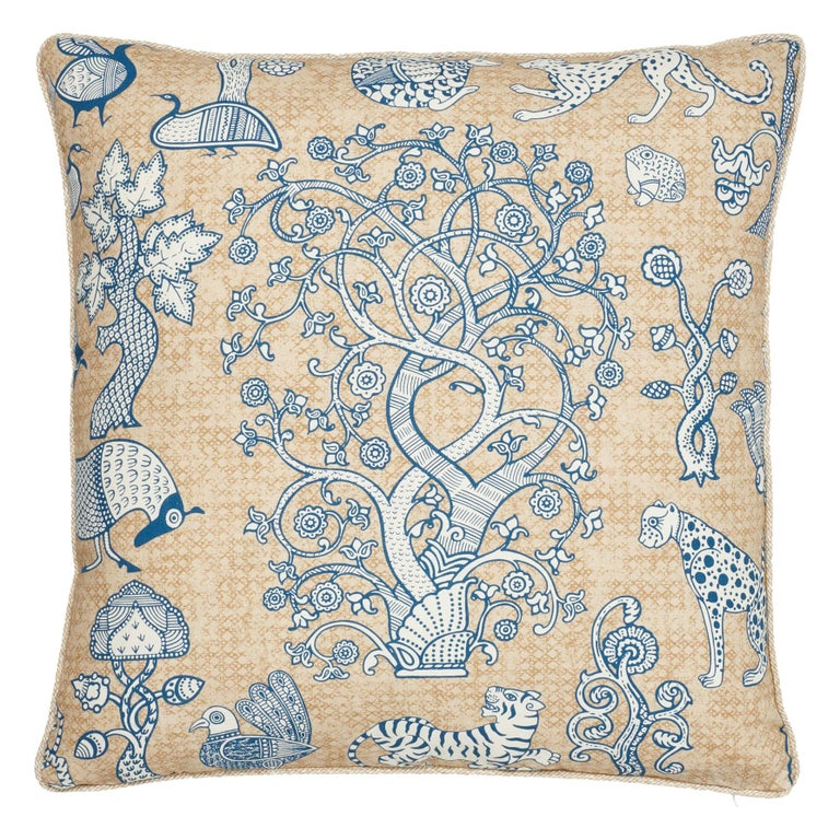 Schumacher Animalia Blue Natural Linen Two-Sided Pillow For Sale