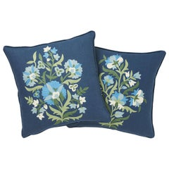 Schumacher Antalya Medallion Embroidery Aegean Two-Sided Linen Pillows, Pair