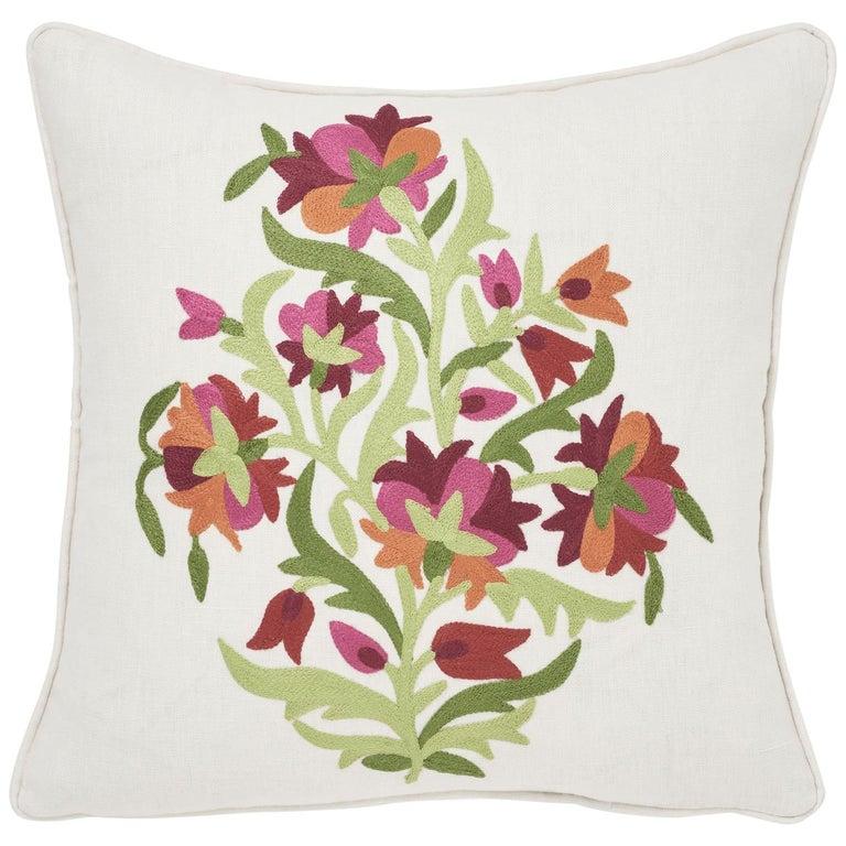 Modern Schumacher Antalya Medallion Embroidery Garnet Two-Sided Linen Pillows, Pair For Sale