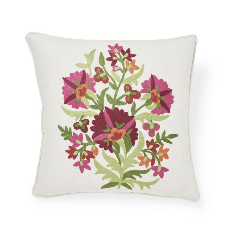 Indian Schumacher Antalya Medallion Embroidery Garnet Two-Sided Linen Pillows, Pair For Sale