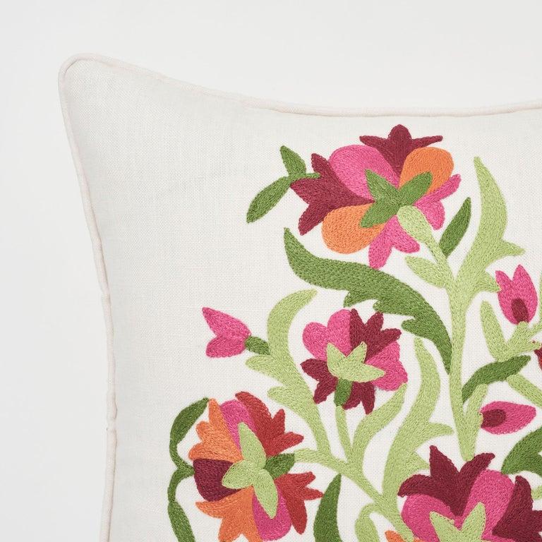Schumacher Antalya Medallion Embroidery Garnet Two-Sided Linen Pillows, Pair For Sale 1