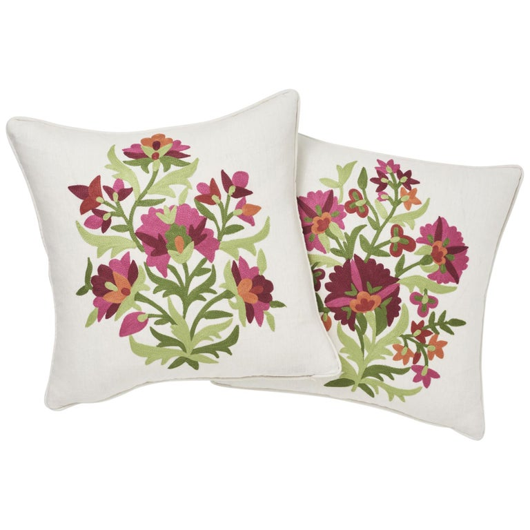 Schumacher Antalya Medallion Embroidery Garnet Two-Sided Linen Pillows, Pair For Sale