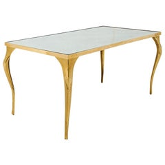 Schumacher Antique Brass Coffee Table with Antiqued Glass Top made in Belgium