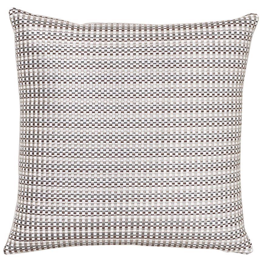 Schumacher Arlo Grey Shimmer Linen Pillow
