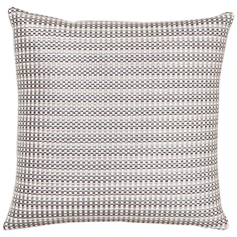 Schumacher Arlo Grey Shimmer Linen Pillow For Sale
