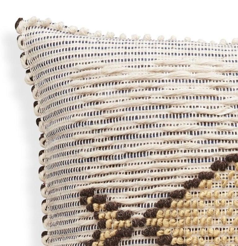 Modern Schumacher Artigianale Italian Handwoven Cotton Wool Natural Blue Pillow For Sale