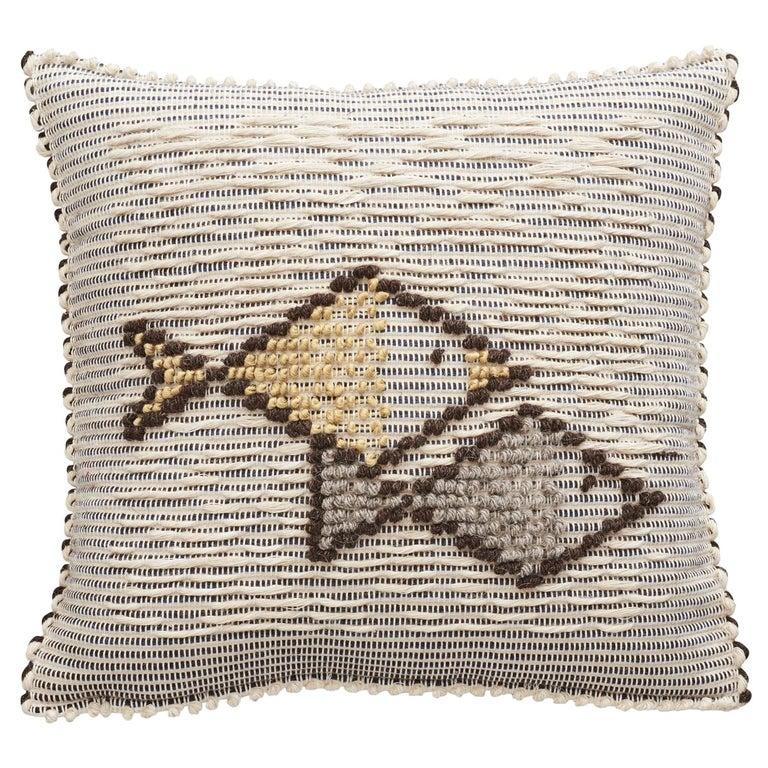 Schumacher Artigianale Italian Handwoven Cotton Wool Natural Blue Pillow For Sale