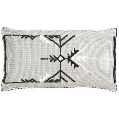 "Schumacher Artigianale Italian Handwoven Black White 47"" Oversized Floor Pillow"