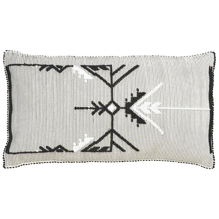 "Schumacher Artigianale Italian Handwoven Black White 47"" Oversized Floor Pillow For Sale"