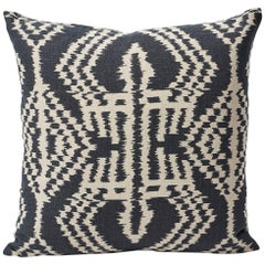 Schumacher Asaka Ikat Contemporary Print Charcoal Two-Sided Linen Pillow