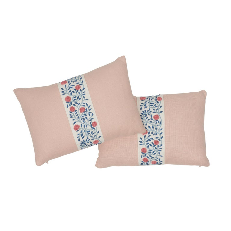 Schumacher Ashoka Tape and Piet Performance Linen Lumbar Pillow In New Condition For Sale In New York, NY