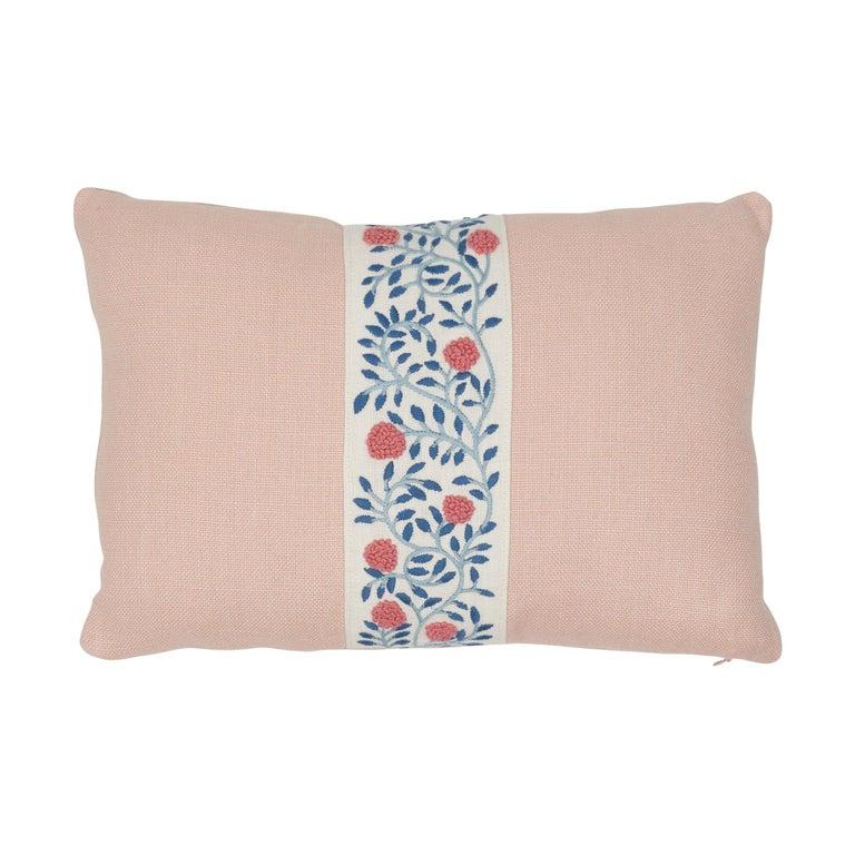 Schumacher Ashoka Tape and Piet Performance Linen Lumbar Pillow For Sale