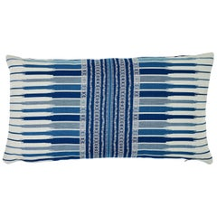 Schumacher Atchison Blue Two-Sided Cotton Lumbar Pillow